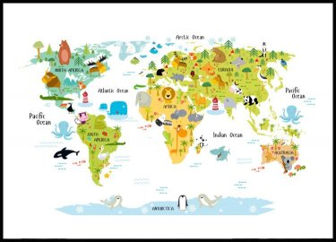 Animal World Map Poster
