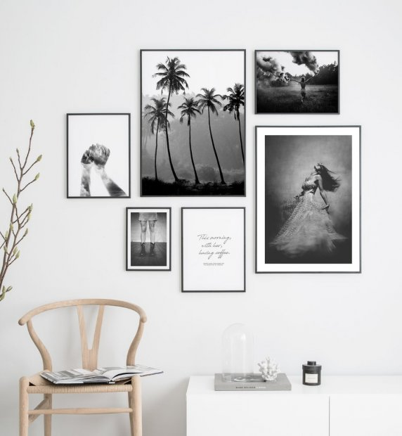 Gallery wall black and white photo art
