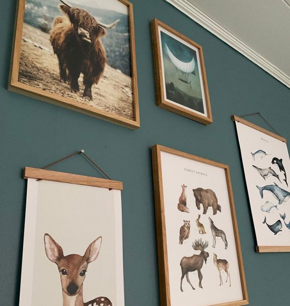 Cool gallery wall with animal posters in oaken frames