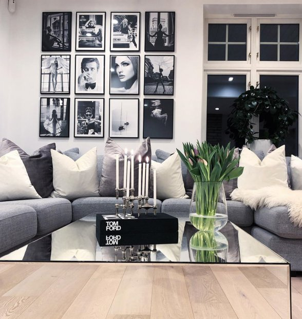 Stunning black white gallery wall iconic posters fashion posters black wooden frames
