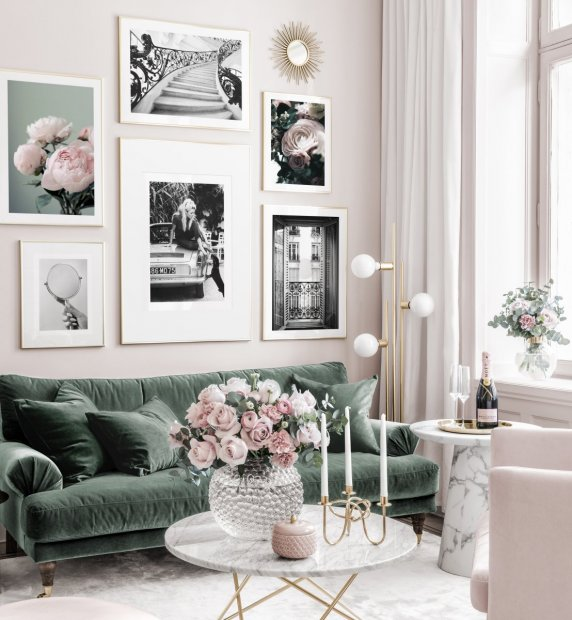 Fashionable black white gallery wall pink flowers brigitte bardot golden frames