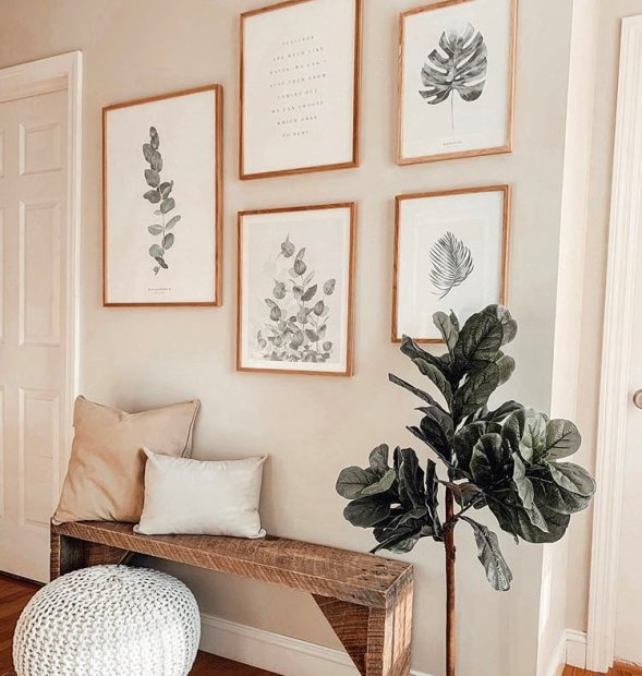 Botanical gallery wall posters plants oaken frames