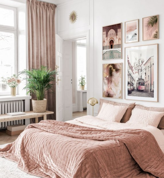 Elegant gallery wall with stylish posters in pink