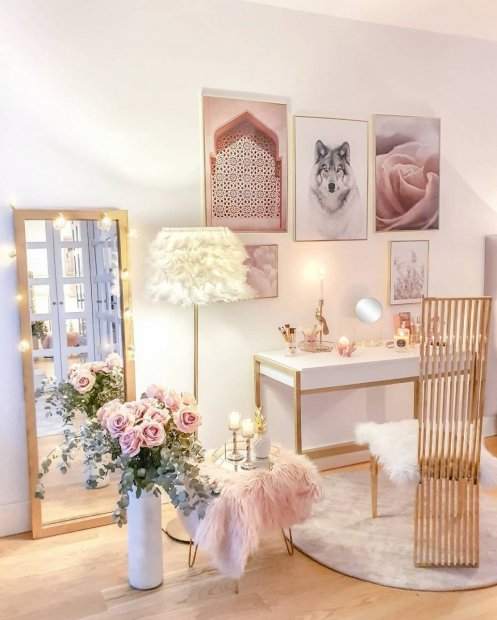 Pink gallery wall dressing room flower prints