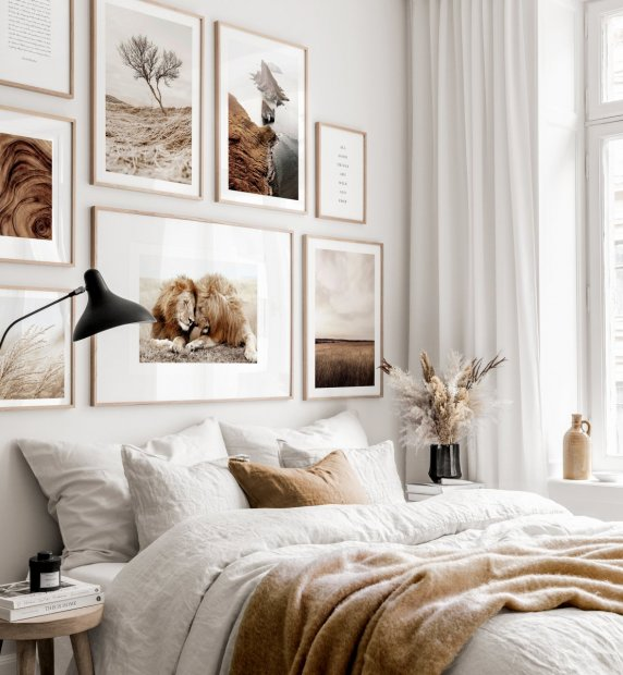 Stunning gallery wall beige interior nature posters lions oaken frames