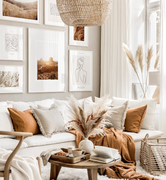 Modern bohemian gallery wall line art prints beige living room ideas