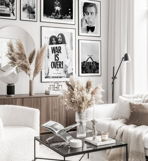 Black white gallery wall iconic vintage posters black metal frames