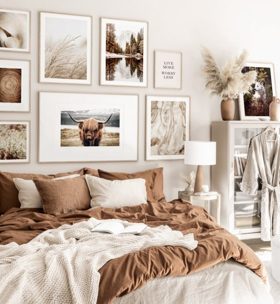 Nature gallery wall beige bedroom oak frames