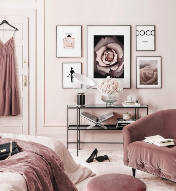 Fashion gallery wall pink bedroom Blossom poster black wooden frames