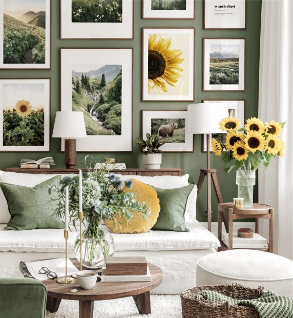 Sunflower wall art nature posters green living room walnut frames