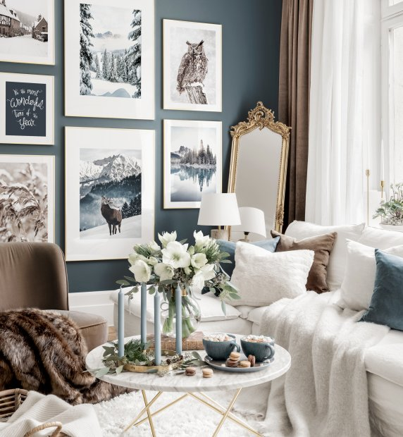 Christmas gallery wall winter posters golden frames