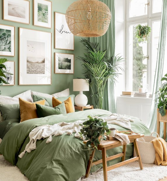 Green nature gallery wall mindfulness posters green bedroom oak frames