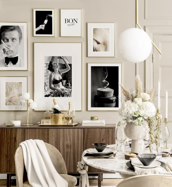 Iconic dining room wall art kitchen prints golden frames
