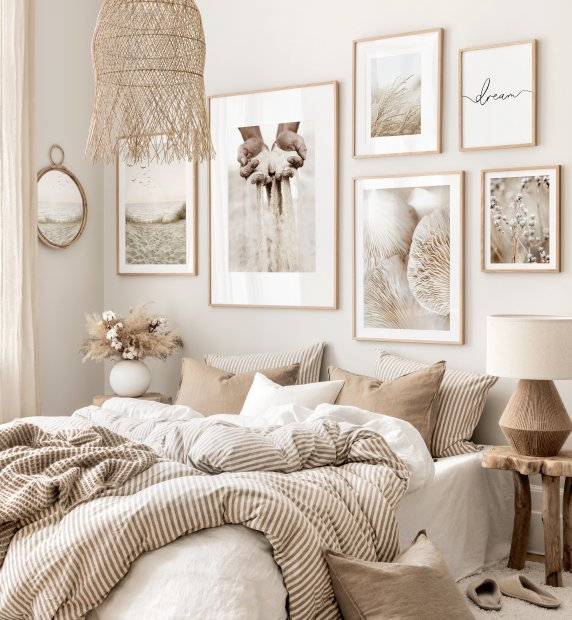 Calming tones of beige wall art mindfulness posters beige bedroom ideas