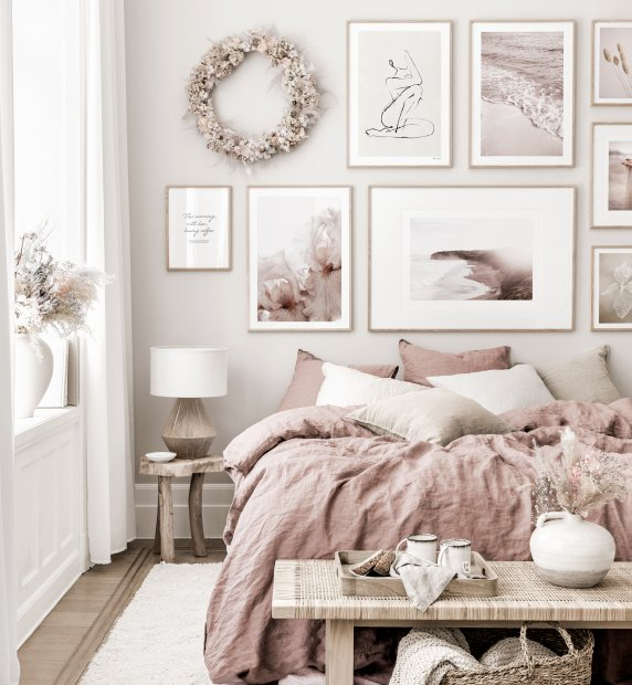 Beautiful gallery wall mindfulness posters terracotta bedroom oak frames
