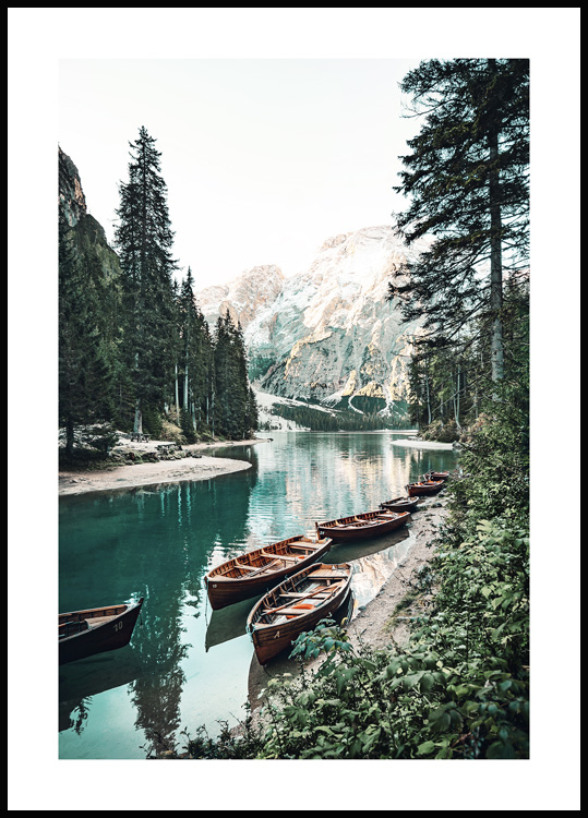 Boats with Mountain View Poster