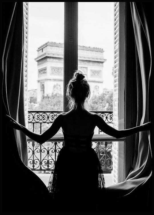 Girl in Paris Window Poster - black and white photo - Posterstore.ca