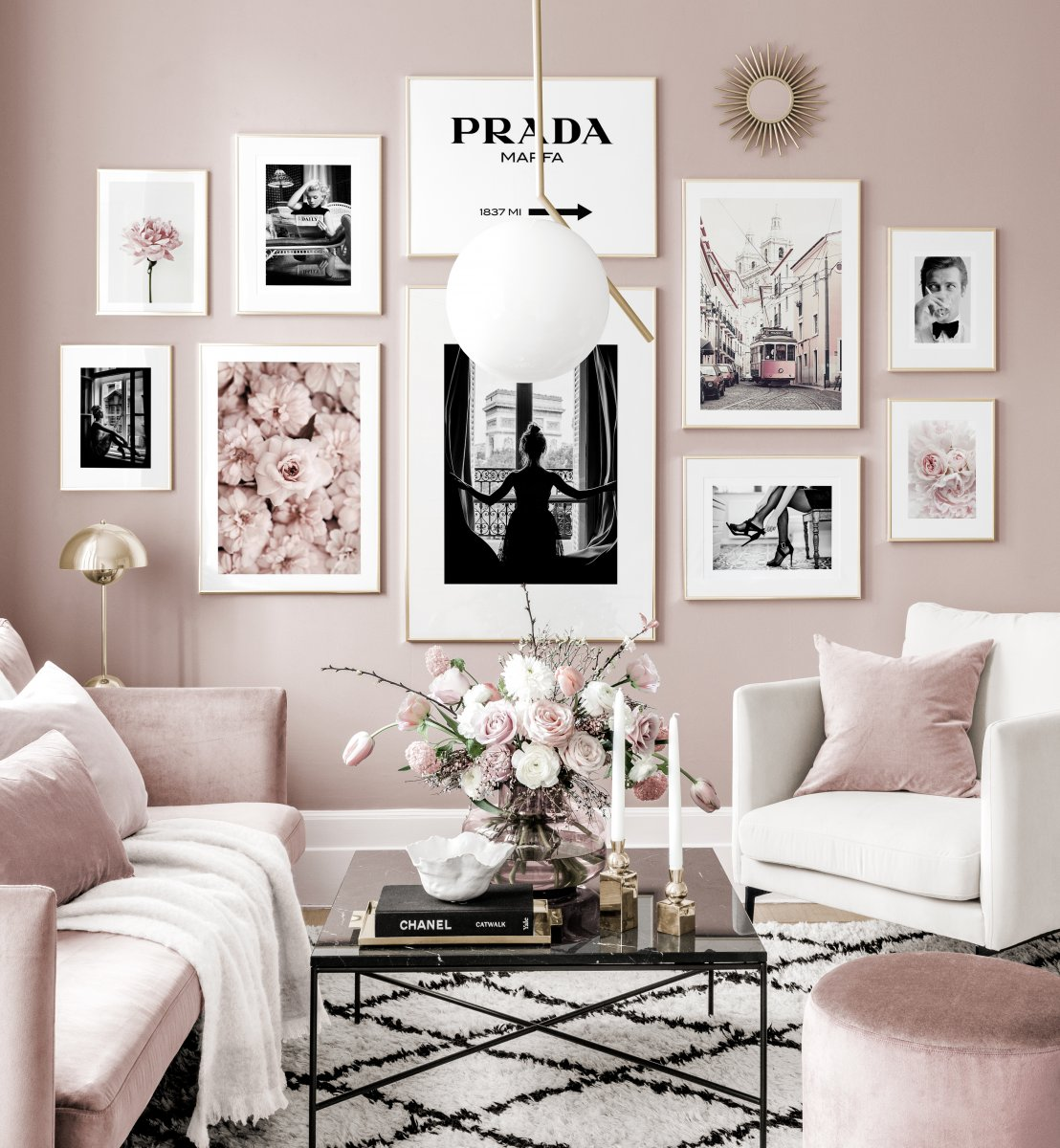 Black White posters flowers pink interior golden frames - Gallery wall  inspiration - Posterstore.ca